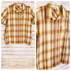 OP Men's Bronze & Gold Plaid Button Front Shirt
